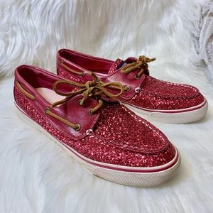 Sperry Pink Sparkle Bahama Glitter Boat Shoes 9